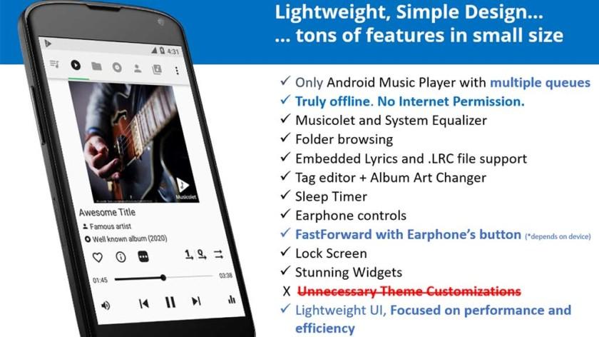 Captura de pantalla de Musicolet, una de las mejores aplicaciones de reproductor de música para Android