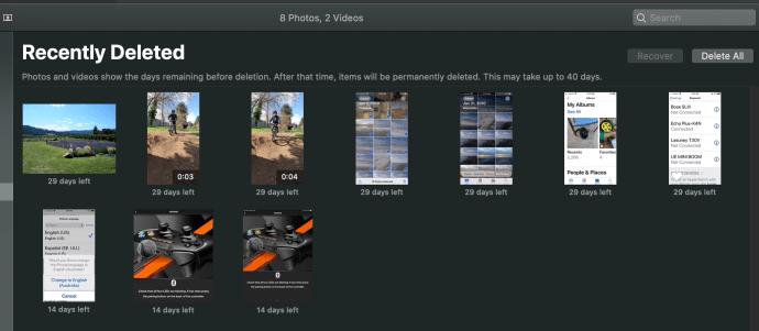 Recientemente eliminado de fotos en una Mac