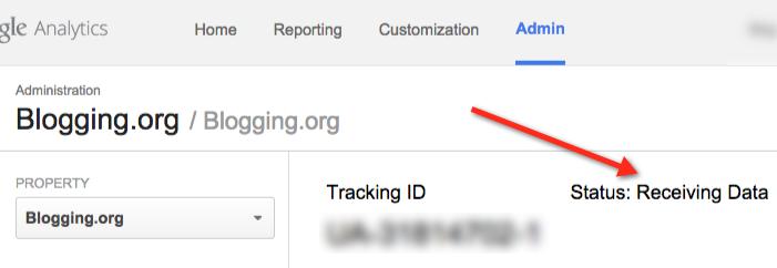 Datos de recepción de Google Analytics