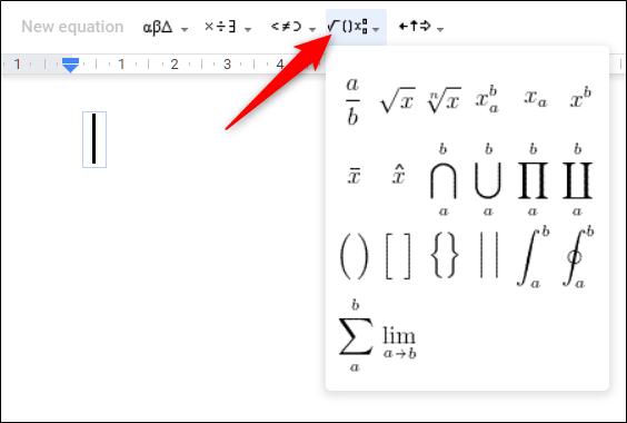 Haga clic en un menú desplegable para crear una ecuación.