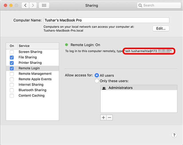 permitir compartir todos los usuarios de Mac