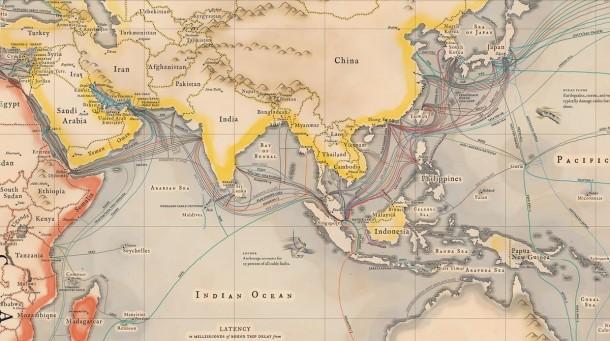 Un mapa de cables que hacen posible Internet 2