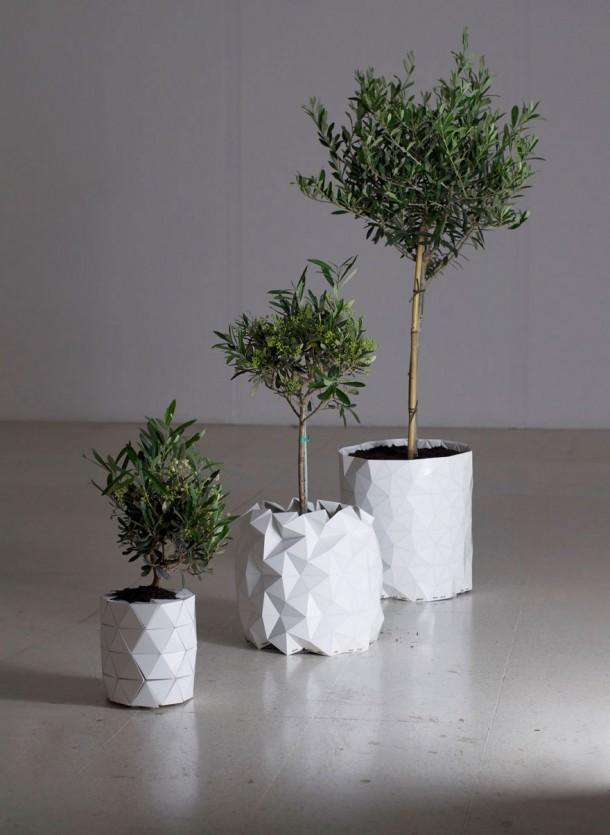 planta de maceta de origami