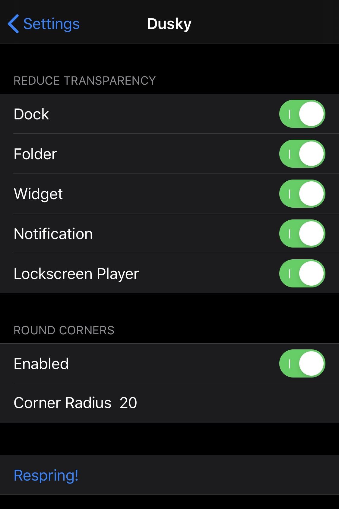 Dusky le permite usar el modo de reducción de transparencia de iOS para interfaces individuales 2