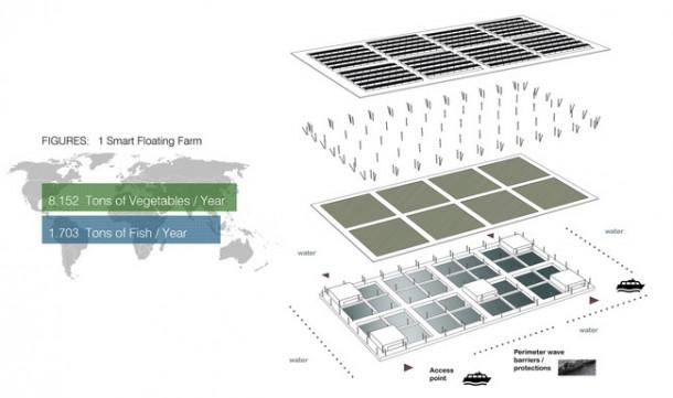 La granja solar flotante es capaz de producir 8 toneladas de vegetales por año 3