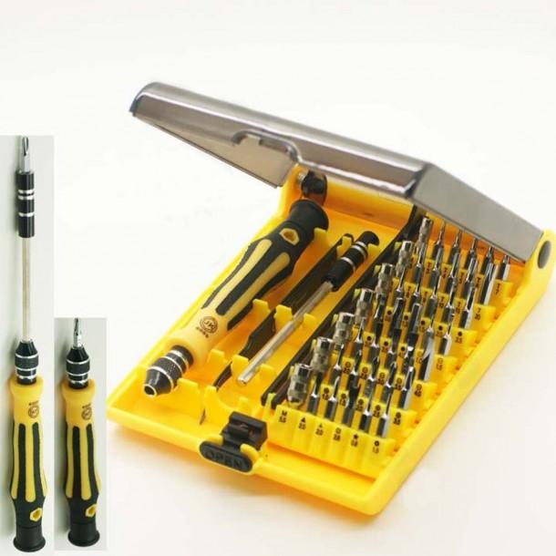 Kit de destornillador compacto de herramienta de apertura portátil profesional 45 en 1