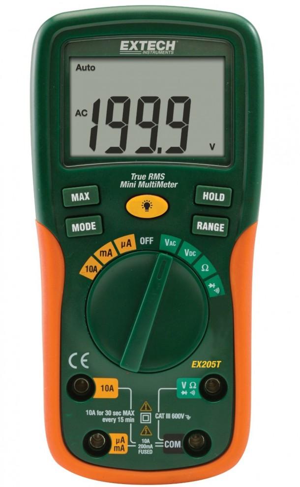 Extech EX205T Multímetro de rango automático verdadero RMS