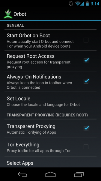 Arreglar Orbot / Tor para Android 4.1 Jelly Bean Device 3