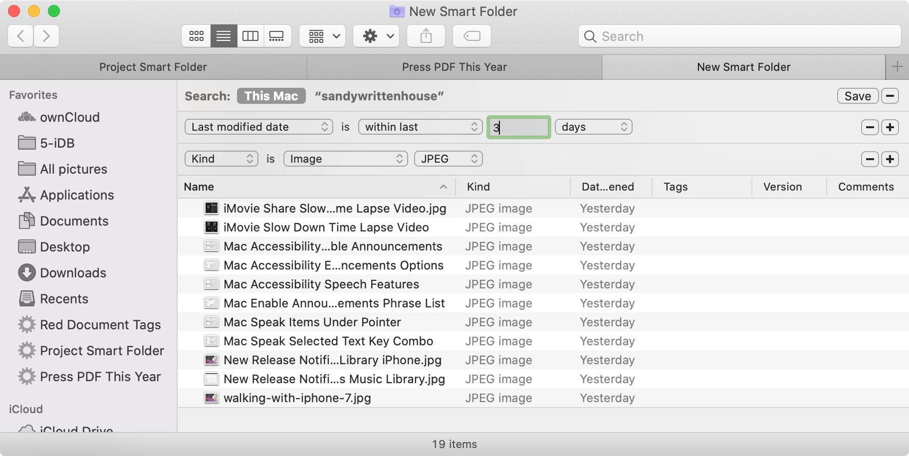 Carpeta inteligente días JPEG modificados