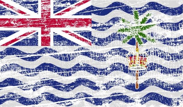Bandera del territorio británico del océano Índico con textura antigua.  Ilustración vectorial