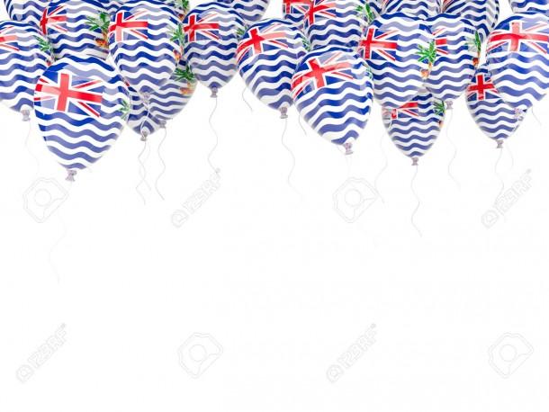 Marco de globo con bandera del territorio británico del océano Índico aislado en blanco