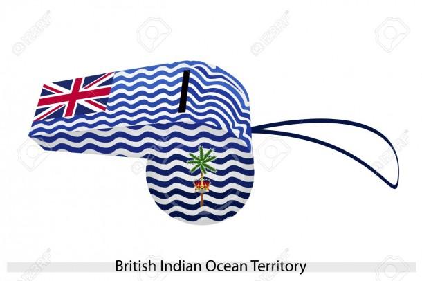 Onda blanca y azul con bandera de la Unión, palmera y corona del territorio británico del océano Índico, BIOT o bandera de las islas Chagos en un silbato.