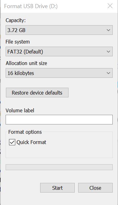 Formatear unidad flash USB - Inicio