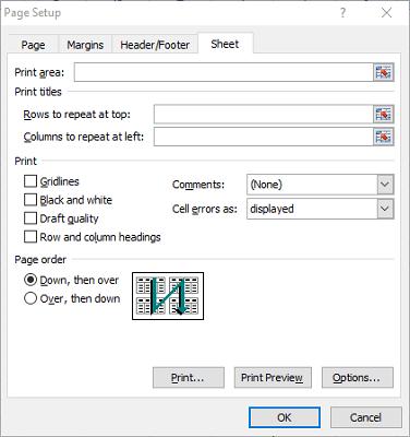 Las líneas y bordes de la cuadrícula de Excel en la ventana de configuración de página no se imprimen