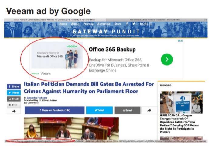 Anuncios que aparecen en la red de Google junto con información errónea COVID-19