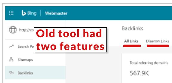 Captura de pantalla de la herramienta anterior de retroceso de Bing anterior