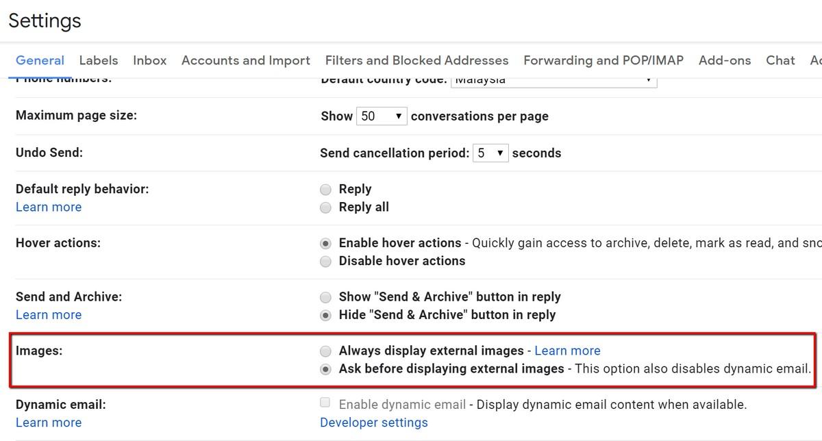 Cómo bloquear la carga de imágenes en Gmail 1
