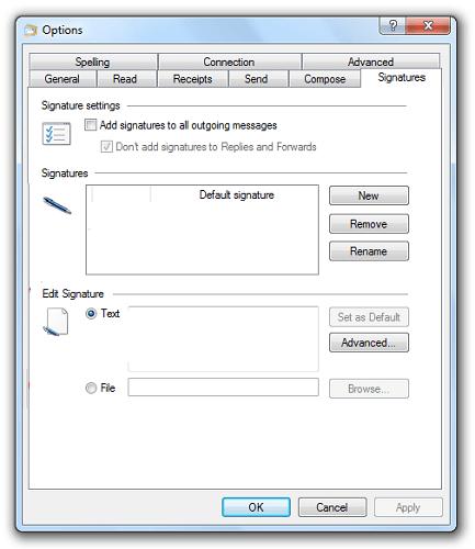 Editar suscripción de Windows Live Mail