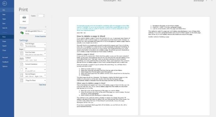 Cómo borrar una página en Word