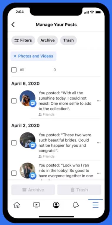 Facebook    Permite que os usuários excluam postagens antigas em massa