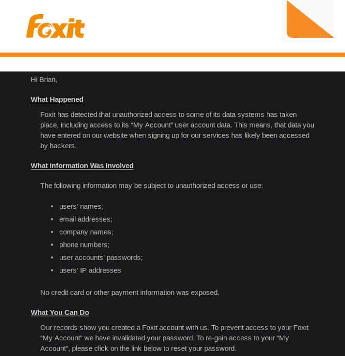 Violation de données Foxit