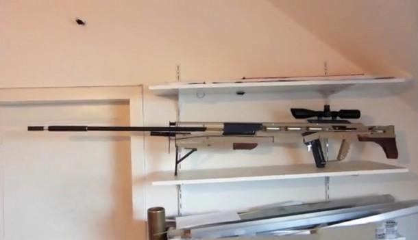 Bricolaje rifle de francotirador disparando alfileres5