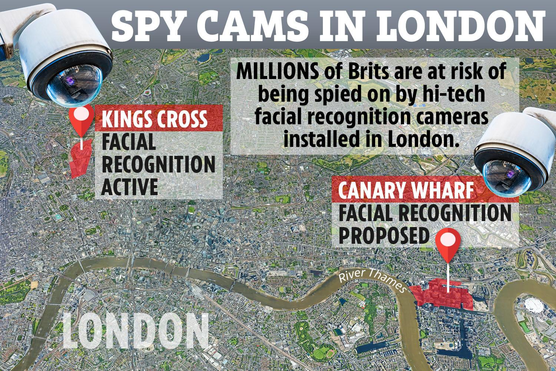Las cámaras de reconocimiento facial se utilizan para rastrear a los británicos