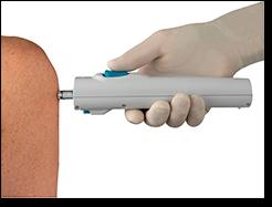 Inyector de chorro dispara la vacuna inyectada directamente en su músculo 2