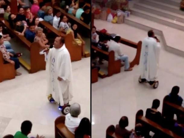 Un sacerdote montó un hoverboard durante una misa y fue suspendido