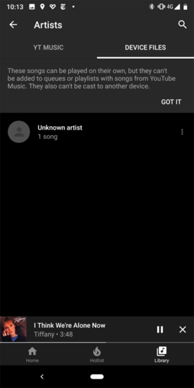 YouTube Music es compatible para reproducir archivos locales en Android 1