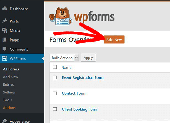 Agregar nuevo formulario