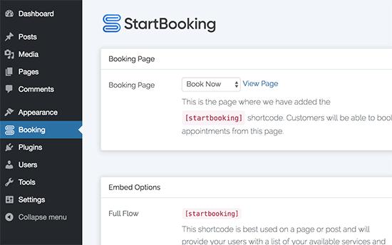 Agregar código abreviado de reserva a la página