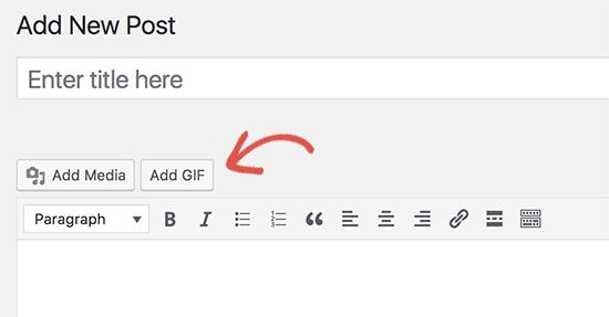 Agregar botón GIF en el editor de publicaciones de WordPress