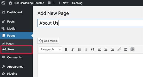 Thêm một trang mới trong WordPress