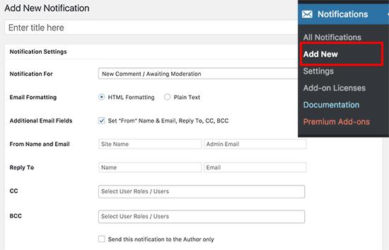 Agregar nueva notificación personalizada