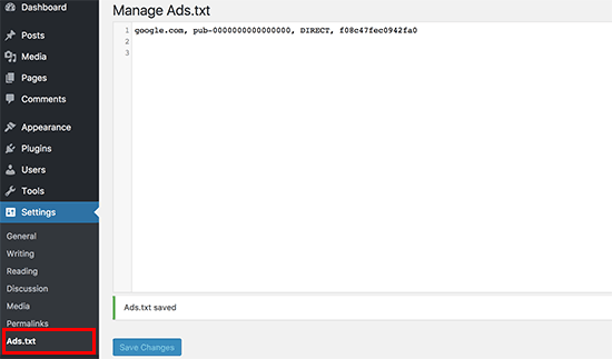 Configuración del administrador Ads.txt