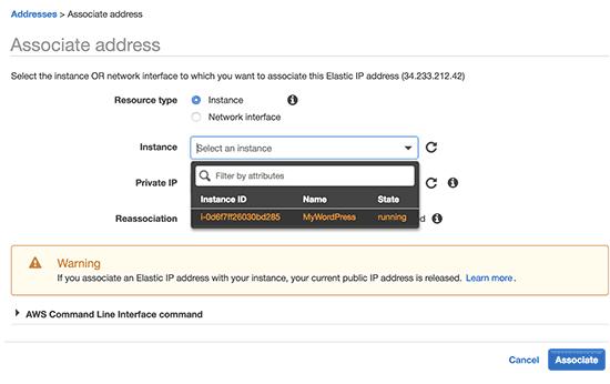 Kết nối IP với ví dụ WordPress của bạn