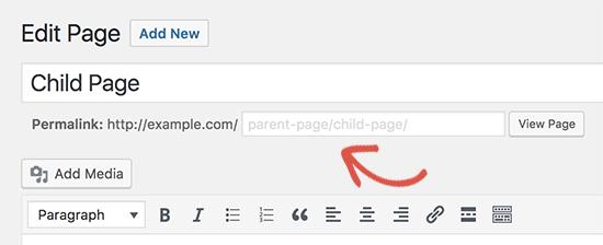 Cambiar URL de página secundaria