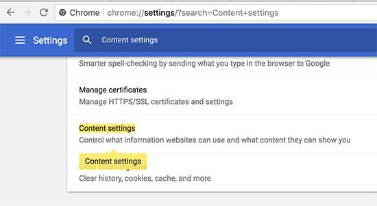 Cài đặt nội dung trong Google Chrome