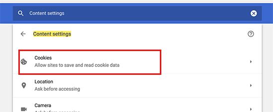 Phần cookie trong cài đặt Chrome