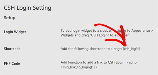 Copiar shortcode para el complemento de inicio de sesión CSH