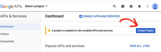 Vytvorte nový projekt Konzoly pre vývojárov Google