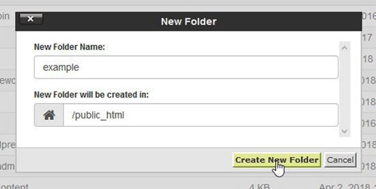 Vytvorte nový priečinok v cPanel