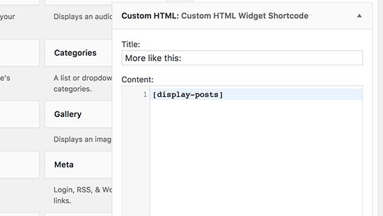 Thêm shortcode bên trong tiện ích HTML tùy chỉnh trong WordPress