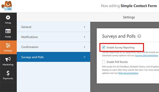 Habilite los informes de encuestas para cualquier formulario en WPForms