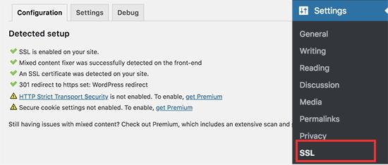 SSL được kích hoạt trên một trang web WordPress