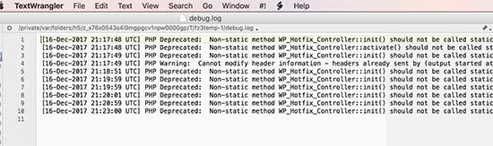 Registrované chyby WordPress