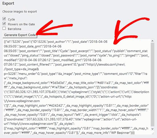 Exportar código de imágenes interactivas
