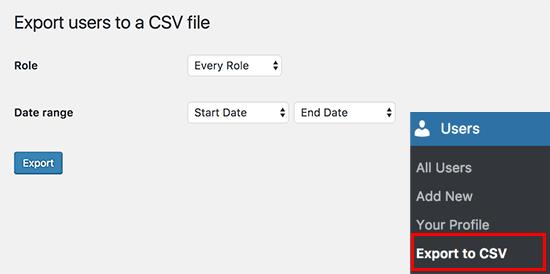 Xuất sang cấu hình CSV