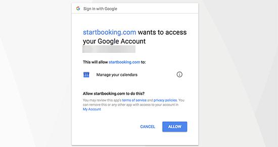 Dar acceso a su Google Calendar